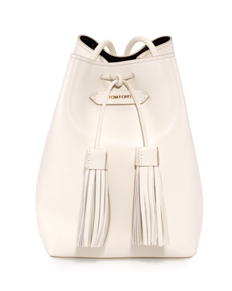Leather Small Tassel Bucket Bag, White/Black