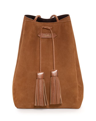 Suede Medium Tassel Bucket Bag, Tan