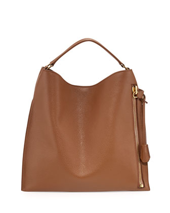 Alix Large Leather Hobo Bag, Tan