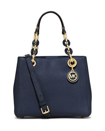 Cynthia Small North-South Satchel Bag, Navy