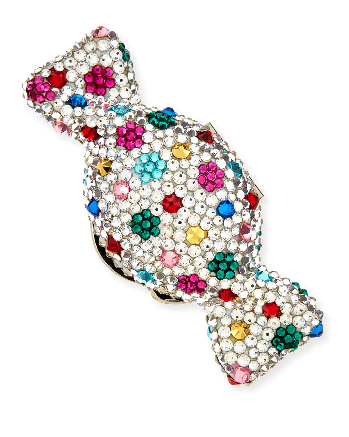 Polka Dots Crystal Candy Pillbox, Silver Multi - Judith Leiber Couture