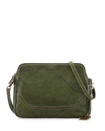 Campus Leather Crossbody Clutch Bag, Olive