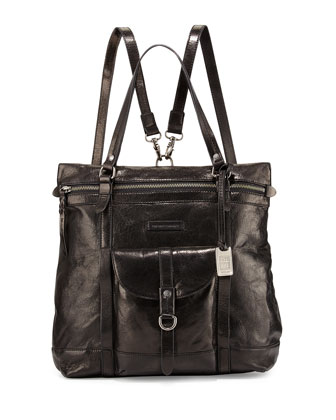 Josie Leather Backpack Tote Bag, Black