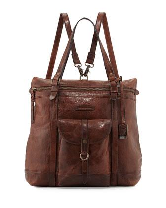Josie Leather Backpack Tote Bag, Dark Brown
