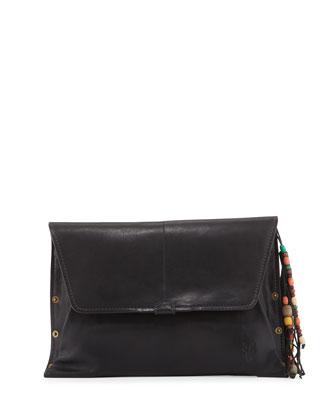Hillary Leather Envelope Shoulder Bag, Black