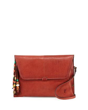 Hillary Leather Envelope Shoulder Bag, Papaya