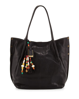 Hillary Leather Tote Bag, Black