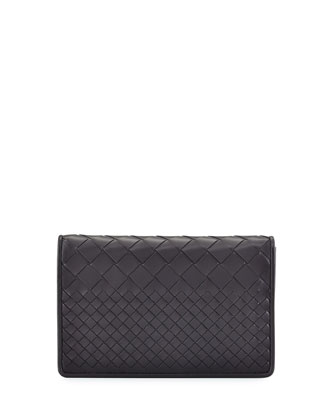 Intrecciato Medium Woven Clutch Bag, Medium Gray