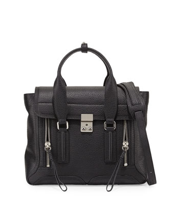 Pashli Medium Calf Satchel Bag, Black