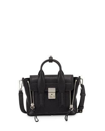 Pashli Mini Leather Satchel Bag, Black