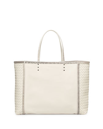 Large Snake & Napa Tote Bag, Mist White