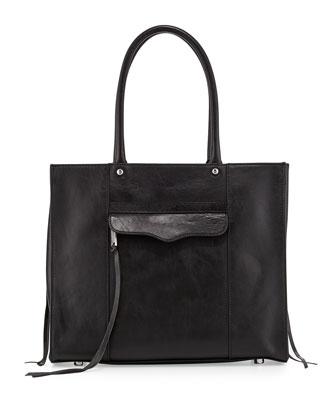 MAB Medium Leather Tote Bag, Black