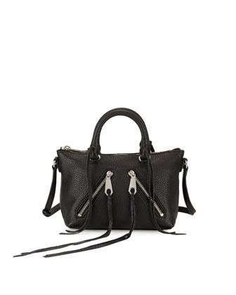 Micro Moto Satchel Bag, Black
