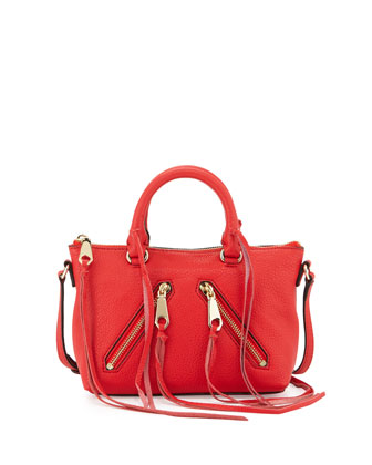 Micro Moto Satchel Bag, Cherry