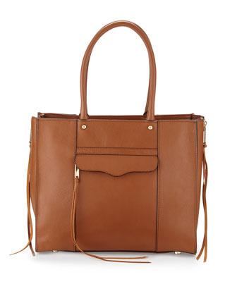 MAB Medium Leather Tote Bag, Almond