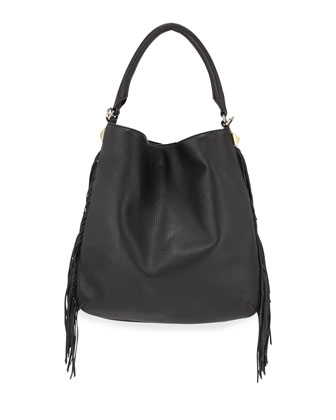 Clark Fringe Hobo Bag, Black