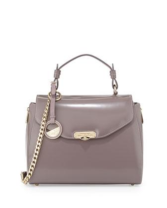 Smooth Leather Satchel Bag, Medium Brown
