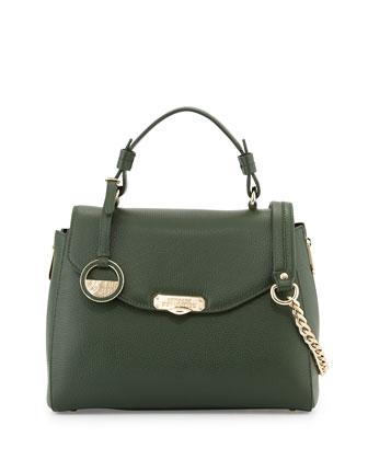 Flap-Top Leather Satchel Bag, Dark Green