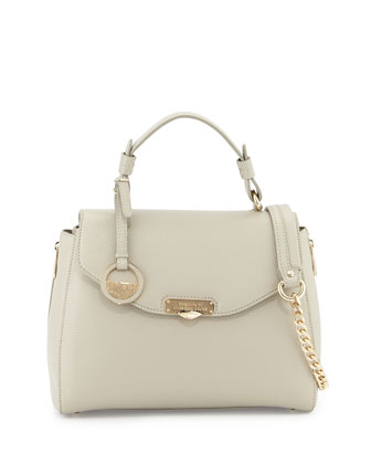 Flap-Top Leather Satchel Bag, Light Gray