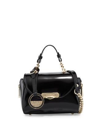 Napa Leather Mini Satchel Bag, Black