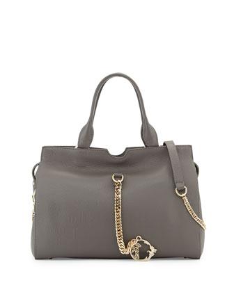 Leather Shoulder Bag, Gray