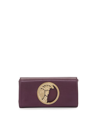 Leather Logo Clutch Bag, Dark Purple