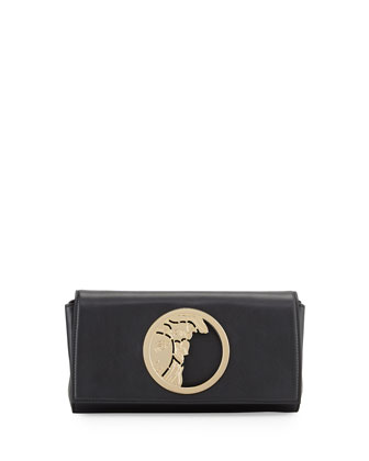 Leather Logo Clutch Bag, Black