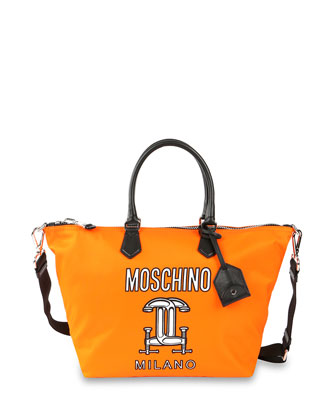 Logo Printed Tech-Fabric Shopping Bag, Orange