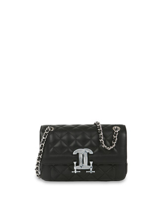 Quilted Napa Shoulder Bag, Black