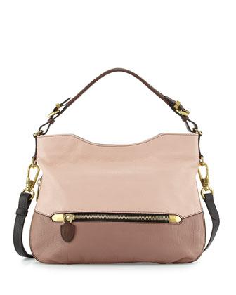Ellie Leather Hobo Bag, Misty Rose