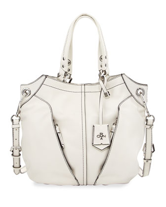 Victoria Leather Tote Bag, White