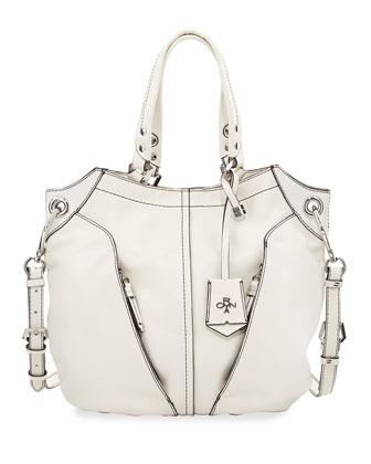 Victoria Leather Tote Bag, White