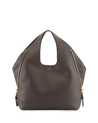 Jennifer Side-Zip Leather Hobo Bag, Graphite