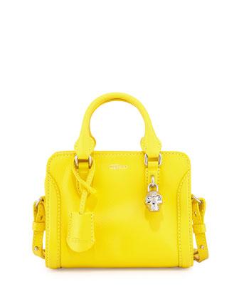 Padlock Mini Calf Satchel Bag, Yellow