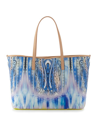 Floral-Print Fringed Tunic Coverup & Paisley-Print Striped Canvas Tote Bag