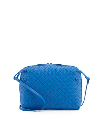Intrecciato Small Zip Messenger Bag, Cobalt