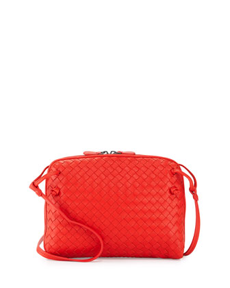 Intrecciato Small Crossbody Bag, Red