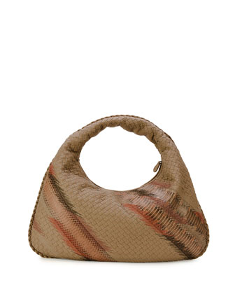 Large Veneta Shadow-Embroidered Snakeskin Hobo Bag, Beige