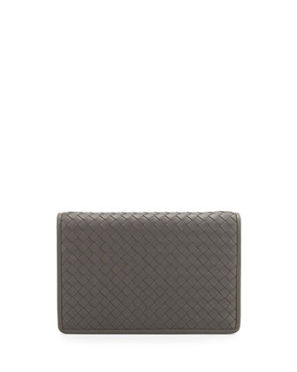 Intrecciato Medium Woven Clutch Bag, Light Gray