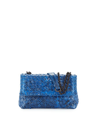 Olimpia Mini Tobu Snakeskin Crossbody Bag, Cobalt