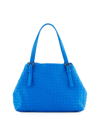 Intrecciato Medium A-Shaped Tote Bag, Cobalt
