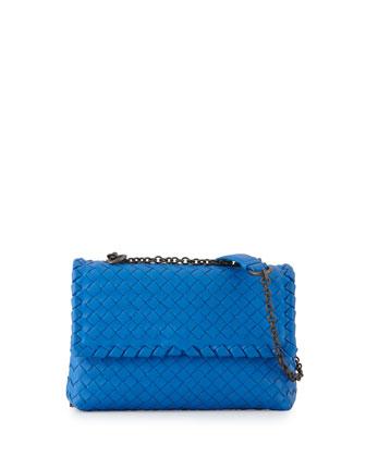 Olimpia Mini Intrecciato Crossbody Bag, Cobalt