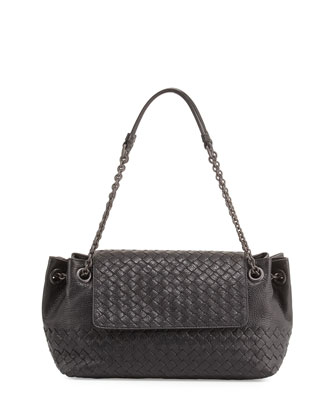 Small Madras Intrecciato Flap Shoulder Bag, Black