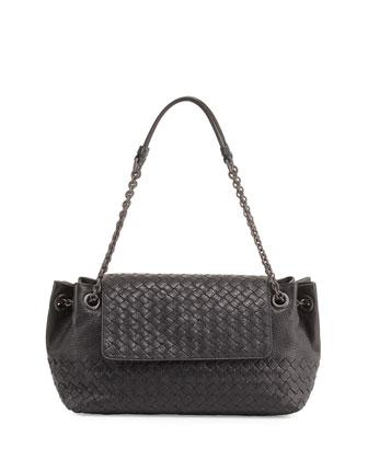 Small Madras Intrecciato Flap Shoulder Bag, Black