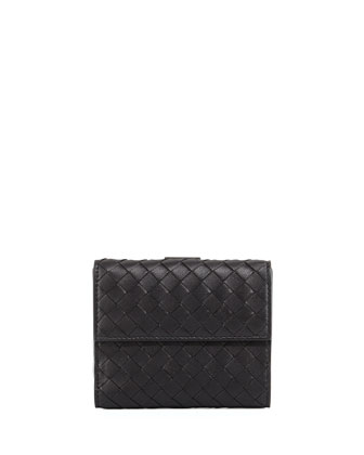 Intrecciato Mini Flap Wallet, Black