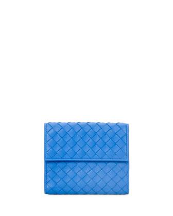 Intrecciato Mini Flap Wallet, Cobalt