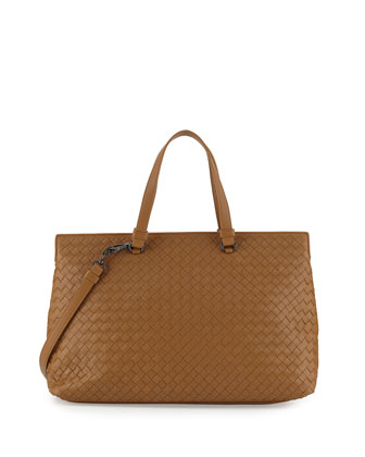 Intrecciato Large Accordion Tote Bag, Camel