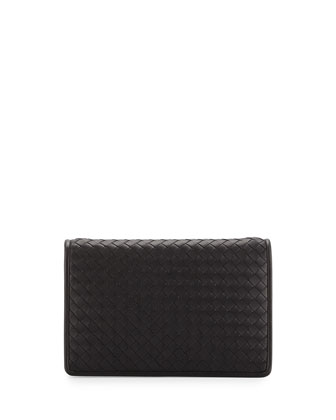 Intrecciato Medium Clutch Bag w/Strap, Black