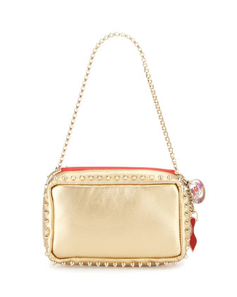 Piloutin Metallic Napa Chain Pochette Bag, Gold