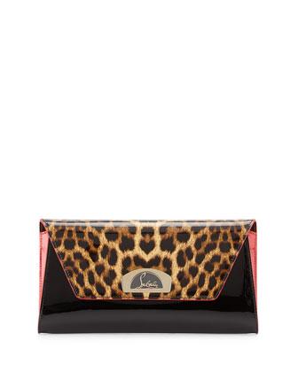 Vero Dodat Flap Patent Clutch Bag, Leopard/Black
